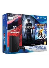 Playstation 4 Slim 1TB - FAMILY Pack - 3 hry: (Uncharted 4, DriveClub, Ratchet&Clank)
