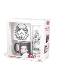 "GIFT SET STAR WARS: Glass, Coaster, Mini Mug ""Trooper"""