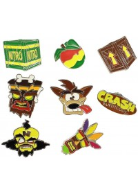 CRASH BANDICOOT - CRATE BOX WITH 9 PIECES OF PIN BADGES