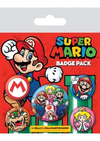 SUPER MARIO PIN RETRO BADGE PACK (5 PINS) (BP80440)