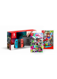 intendo Switch console with neon red&blue Joy-Con + Splatoon 2 + SMOdyssey