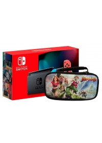 Nintendo Switch console with neon red&amp,blue Joy-Con